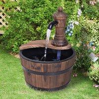 Wooden Barrel Patio Water Fountain Decorative Ornament - Carbonized Wood Colour