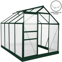 Greenhouse Polycarbonate 6ft x 8ft With Base (Green) - Green