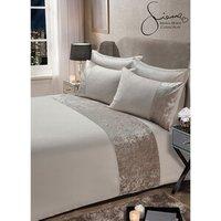 Sienna Crushed Velvet Pillow Case and Duvet Set - Natural / Double