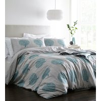 Coppice Duvet Cover and Pillowcase Set - Grey/Teal / Double