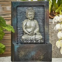 Dark Grey Meditating Buddha Water Feature - Grey