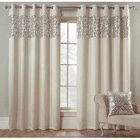 Hollywood Sequin Eyelet Curtains - Pearl / 168cm / 137cm