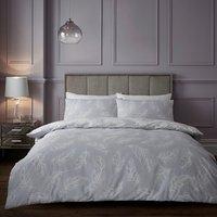 Plume Silhouette Duvet Cover and Pillowcase Set - Mauve / King