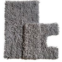 Luxurious Twist Bath Mat Set - Charcoal