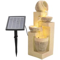 Kettle shape Cascading Bowls Water Fountain with Solar LED - Yellow