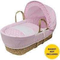 Pink Spots and Stripes Moses Basket Bedding Set Dressings - Pink