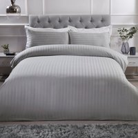 Luxury Satin Stripe Duvet Cover and Pillowcase Set - Silver / Super King