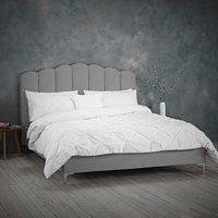 Willow Velvet Upholstered Fabric Bed Frame - Soft Silver / Double