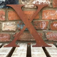 Classic 12 inch Rusty Metal Letter X - RUSTED