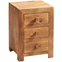 Dakota Light Mango 3 Drawer Bedside Cabinet - Light Wood