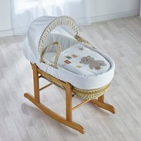 ABC Teddy Cream Moses Basket with Natural Little Gem Rocking Stand