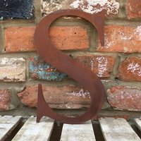 Classic 12 inch Rusty Metal Letter S - RUSTED