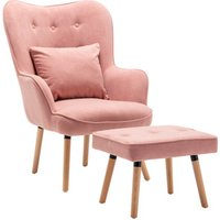Dinning Accent Chair and Footstool - Pink