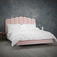 Willow Velvet Upholstered Fabric Bed Frame - Shell Pink / Double