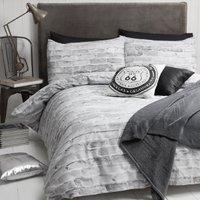 Brick Wall Grey Duvet Cover and Pillowcase Set - Double