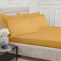 180 Thread Count Cotton Fitted Sheet  - Ochre / Single