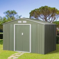 9 x 6FT Outdoor Garden Roofed Metal Storage Shed  - Light Green