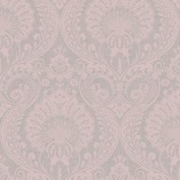 Orient Damask Wallpaper Charcoal Rose Gold