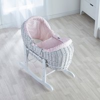 Pink Dimple White Pod Moses Basket with Little Gem Rocking Stand - Pink