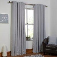 Basic Blockout Eyelet Curtains - Grey / 229cm / 183cm