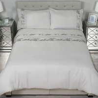 Trailing Sequin Flowers Duvet Cover and Pillowcase Set - Double