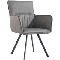Pair of Carver Dining Chairs With Angled Legs - Grey