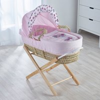 Pink Butterfly Moses Basket with Opal Folding Stand Natural