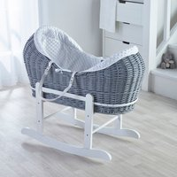 White Dimple Grey Pod Moses Basket with Little Gem Rocking Stand  - White