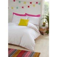 Pom Pom Trim Duvet Cover and Pillowcase Set - Multi / King