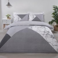 Marble Geo Duvet Cover and Pillowcase Set - Grey / Single