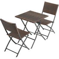 Folding Rattan Garden Chair Set - Brown
