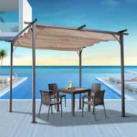 3x3m Metal Pergola Gazebo Awning with Retractable Canopy -