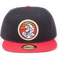 'Nintendo Super Mario Bros. Retro Mario Badge Snapback Baseball Cap, Unisex, Black/red (sb662787ntn)