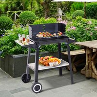Charcoal BBQ Grill Trolley Barbecue - Black