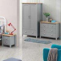Eaton Grey 4 Piece Furniture Set Wardrobe 2x Bedside 4 Drawer Chest  - Light Grey