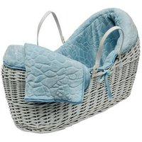 Blue Pebble White Pod Moses Basket - Blue