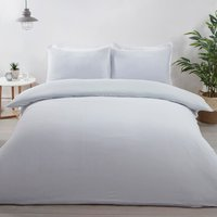 Jersey Textured Stripe Duvet Cover and Pillowcase Set - Grey / Double