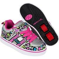 Heelys - Size 1 - X2 Silver Cheetah Bolt Skate Shoes - Heelys Gifts