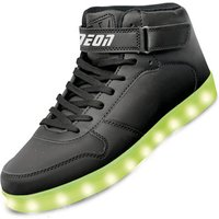 Click to view product details and reviews for Neon Kyx Size 13 Black High Top Light Up Shoes.