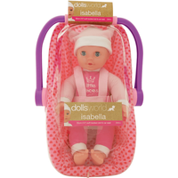 Dolls World Isabella 30cm Soft Bodied Doll and Car Seat Carrier (Styles Vary)