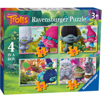 Ravensburger 4-in-1 Box Jigsaw Puzzles - Dreamworks Trolls - Jigsaw Gifts