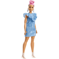 Barbie Fashionistas Doll - Pink Hair Curvy with Denim Dress - Barbie Gifts