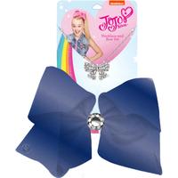 JoJo Siwa 20cm Metallic Faux Leather Bow And Necklace Set - Navy