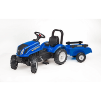 Falk Master Ride on Tractor and Trailer - Blue - Ride On Gifts