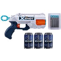 X-Shot Double Reflex 6 Foam Dart Blaster Combo Pack - 8 Darts 3 Cans - Darts Gifts