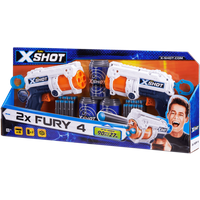 X-Shot Double Fury 4 Combo Foam Blaster Pack - 16 Darts 3 Cans - Darts Gifts