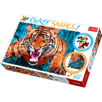 Trefl Crazy Shapes 600 Piece Puzzle - Facing a Tiger - Tiger Gifts
