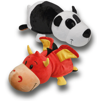 FlipaZoo Plush Soft Toy - Red Dragon and Panda - Soft Toy Gifts