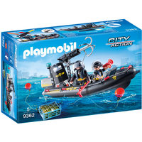 Playmobil 9362 City Action SWAT Boat with Hook Cannon
