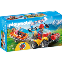 Playmobil 9130 Mountain Rescue Quad with Pullback Motor and Working Winch - Working Gifts